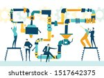 people working together with... | Shutterstock .eps vector #1517642375