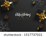 christmas black background.... | Shutterstock .eps vector #1517737022