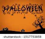 a scary halloween message with... | Shutterstock . vector #1517753858