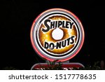 Small photo of Houston, Texas/USA 09/29/2019: Neon Shipley Do-Nuts sign on Old Humble Rd in Humble, TX. Shipley Do-Nuts are iconic in the Southern US. Founded in Houston 1936 they are a household name in the South.