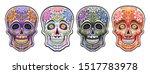 vector set of sugar skulls for... | Shutterstock .eps vector #1517783978
