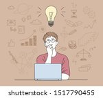 a man is opening a laptop and... | Shutterstock .eps vector #1517790455