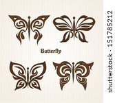 set with butterflies tattoos | Shutterstock .eps vector #151785212