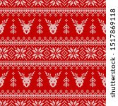 knitted seamless pattern with... | Shutterstock .eps vector #1517869118