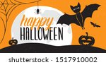 Stock vector website headers or banner for halloween full moon pumpkin spider bats and happy halloween 1517910002