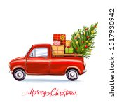christmas tree and gifts on the ... | Shutterstock . vector #1517930942