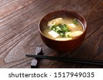 Japanese Miso Soup On Wooden...