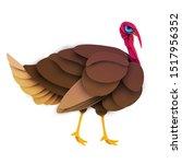 cartoon farm turkey bird in... | Shutterstock .eps vector #1517956352