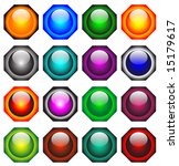 16 different hexagon button set | Shutterstock .eps vector #15179617