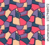 patchwork and buttons pattern... | Shutterstock .eps vector #1517968472