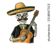 skeleton dressed in the poncho  ... | Shutterstock .eps vector #1518047315