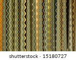 Vertical multicolored bands of wavy patterns in a horizontal format. - stock photo