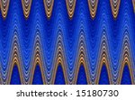 Gold and blue sine curves interlaced in a horizontal sweep - stock photo