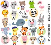 set of cute cartoon animals on... | Shutterstock .eps vector #1518094595