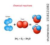 chemical reaction. oxygen atoms ... | Shutterstock .eps vector #1518121082
