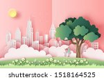 cute couple sitting on a swing... | Shutterstock .eps vector #1518164525