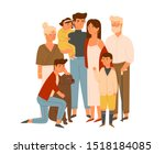 happy big family together flat... | Shutterstock .eps vector #1518184085