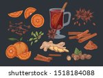 mulled wine and spices hand... | Shutterstock .eps vector #1518184088