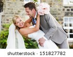 romantic bride and groom... | Shutterstock . vector #151827782