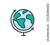 earth globe color line icon....