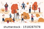 different people picking fruits ... | Shutterstock .eps vector #1518287078