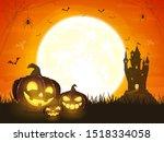 halloween pumpkins with castle. ... | Shutterstock . vector #1518334058