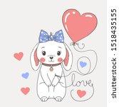 cute rabbit girl with balloon... | Shutterstock .eps vector #1518435155