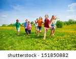 large group of kids running in... | Shutterstock . vector #151850882