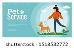 Stock vector vector illustration of young cute girl walking with a basenji dog template for pet service sitter 1518532772