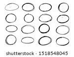 set of balck grunge oval ... | Shutterstock .eps vector #1518548045