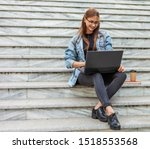 Young Modern Woman Student In A ...