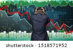 Small photo of Business investor upset about market downfall, bear stock market, crying man