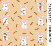Stock vector children s seamless pattern with the image of cute hares and rabbits with carrots kawaii animals 1518576962