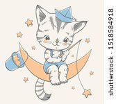 Stock vector vector illustration of a cute kitten sitting on the moon and catching stars 1518584918