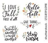 set of hand drawn lettering... | Shutterstock .eps vector #1518591098