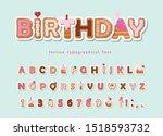 cake cartoon font. cute sweet... | Shutterstock .eps vector #1518593732