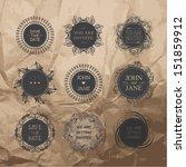 vintage wedding badges | Shutterstock .eps vector #151859912