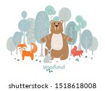 Stock vector cute animals on the background of the forest trees plants bear fox squirrel hare forest 1518618008