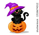 halloween black cat in a witch... | Shutterstock .eps vector #1518674312
