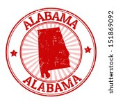 Grunge rubber stamp with the name and map of Alabama, vector illustration