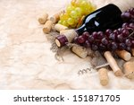 Bottle Of Wine  Grapes And...