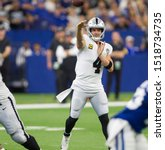 Small photo of Derek Carr - Indianapolis Colts host the Oakland Raiders on Sunday Sept. 29th 2019 at Lucas Oil Stadium in Indianapolis, IN -USA