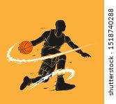 Basketball Dribble Dark Flame...