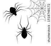 set of black spider silhouettes ... | Shutterstock .eps vector #1518748172