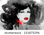 woman face. hand painted... | Shutterstock . vector #151875296