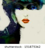 fashion woman. hand painted... | Shutterstock . vector #151875362