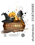 hallowen party invitation  ... | Shutterstock . vector #1518760085