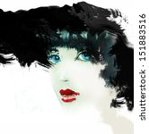 woman face. hand painted... | Shutterstock . vector #151883516