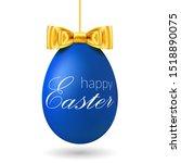easter egg 3d. blue hanging egg ... | Shutterstock .eps vector #1518890075