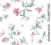 floral seamless pattern. flower ... | Shutterstock .eps vector #1518897482